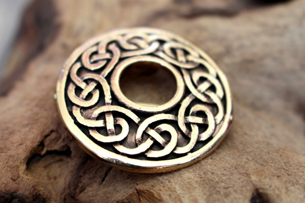 CELTIC MOON Bronze Tuchbrosche