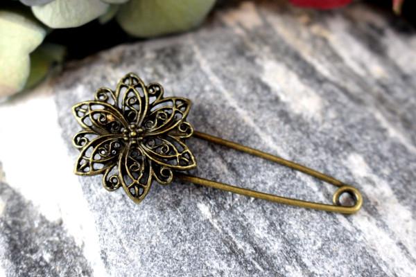 CLEMATIS Bronzene Tuchnadel aus Metall