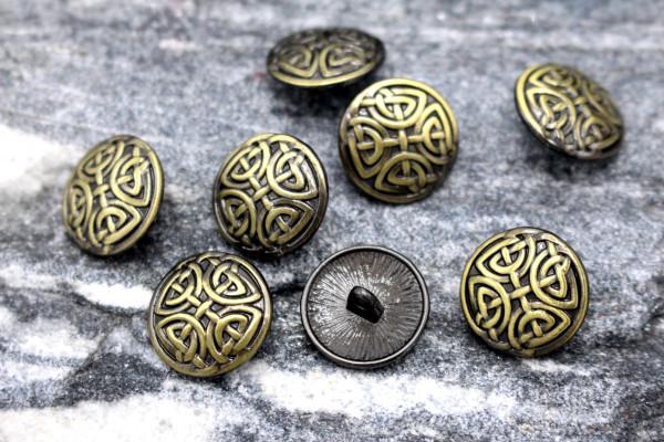 GOTHIC KNOT Bronzener Metallknopf Bronze 15 mm